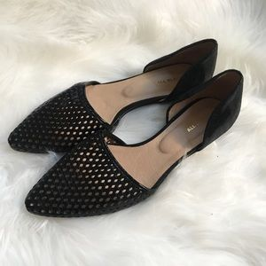 EUC All Black D'Orsay Leather Flats Perforated